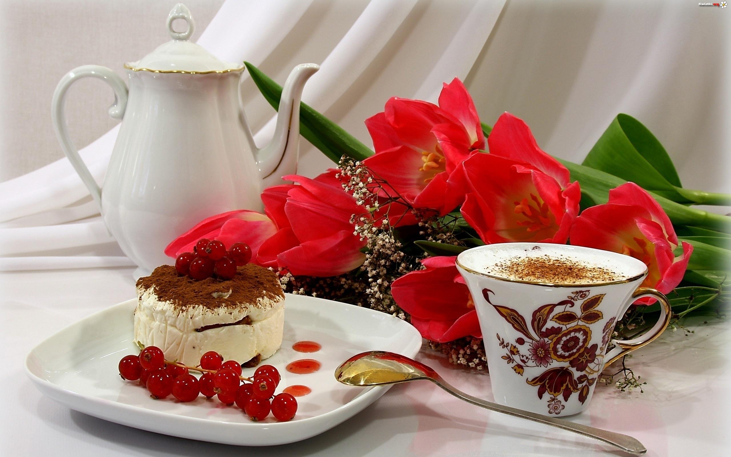Tulipany, Kawa, Ciasto, Kompozycja - Zdjęcia